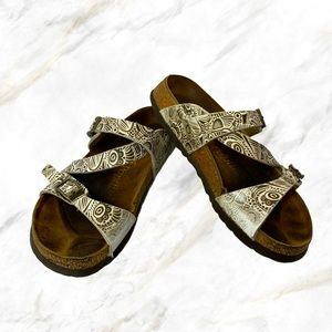 Papillion | Brown Patterned White Sandals